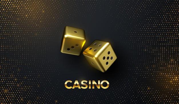 Concetto di casinò di dadi d'oro su sfondo nero con glitter dorati