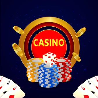 Casinò free spin con carte da gioco poker Vettore Premium