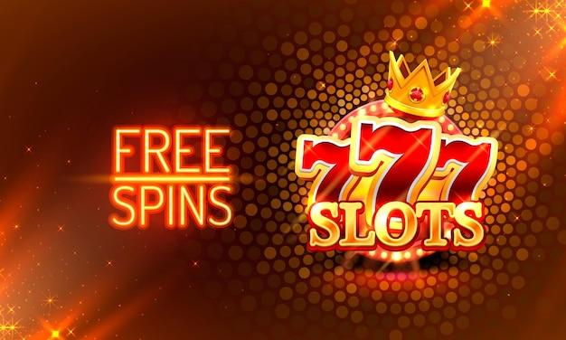 Casinò giri gratis oro 777 slot machine segno illustrazione vettoriale