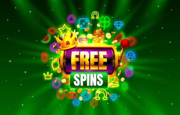 Casino giri gratis slot icone al neon slot dorata segno macchina notte vegas vector illustration