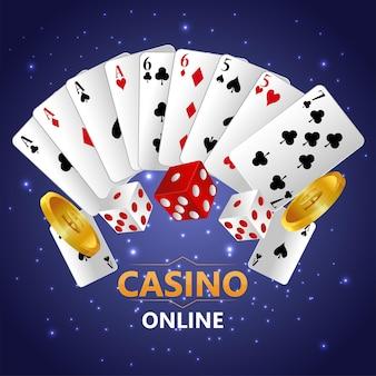 Sfondo del gioco d'azzardo del casinò con carte da gioco e dadi