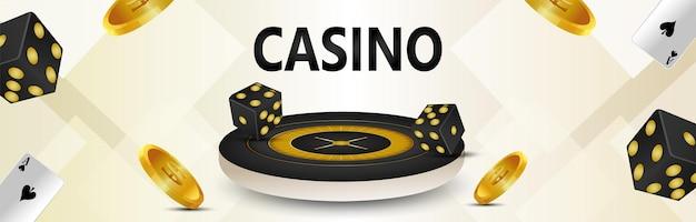 Banner di gioco d'azzardo da casinò con ruota della roulette e moneta d'oro Vettore Premium