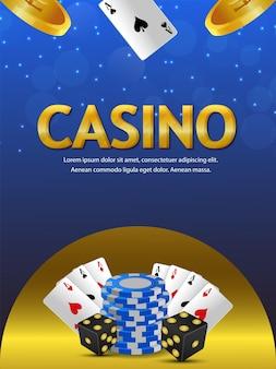 Volantino del gioco d'azzardo del casinò con fiches del casinò, carte da gioco