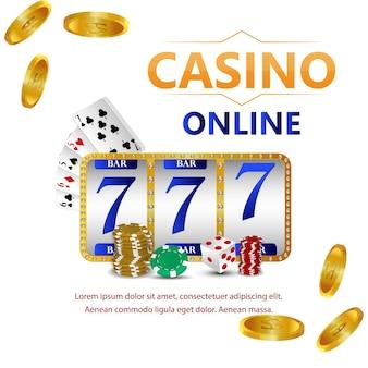 Gioco d'azzardo del casinò con testo dorato e carte da gioco e slot del casinò