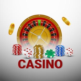 Gioco d'azzardo da casinò con roulette, fiches da casinò e monete d'oro