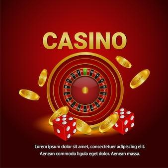 Gioco d'azzardo del casinò con roulette, moneta d'oro, dadi e sfondo