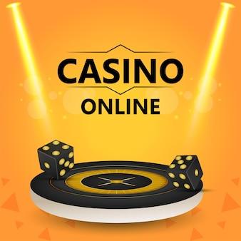 Gioco d'azzardo da casinò con ruota della roulette e slot machine