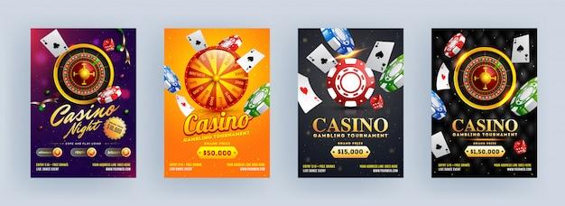 Torneo di gioco del casinò e progettazione del modello o dell'aletta di filatoio di notte del casinò nel fondo astratto differente.