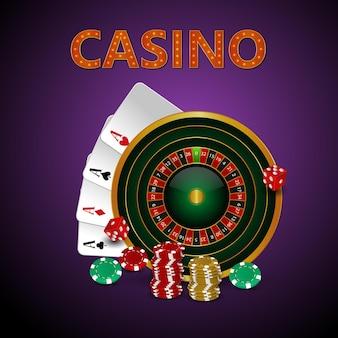 Illustrazione vettoriale di gioco d'azzardo casinò con carte da gioco creative e fiches