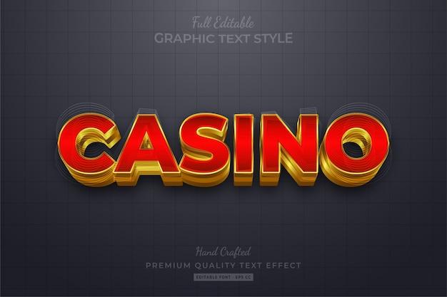 Casino gold modificabile eps effetto stile testo premium