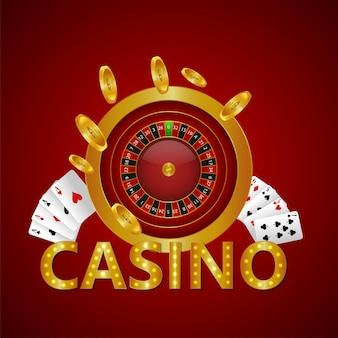 Testo dorato del casinò con carte da gioco e moneta d'oro