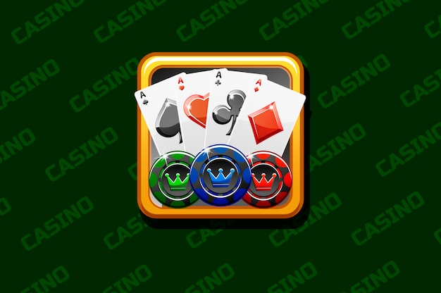 Icona del casinò su sfondo verde, per il gioco dell'interfaccia utente