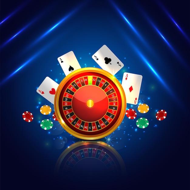 Cartolina d'auguri dell'invito del casinò con carta da gioco e fiches della roulette creativa