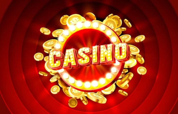Casino label frame golden banner border vincitore vegas game vector
