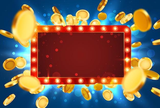 Cornice della lampada del casinò con sfondo di monete 3d realistiche d'oro