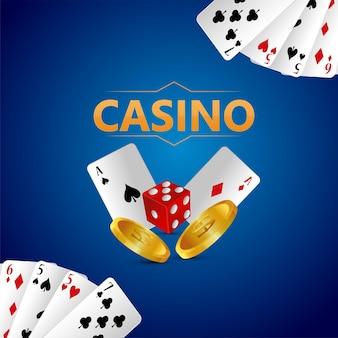 Banner di gioco d'azzardo vip di lusso del casinò con carte da gioco e fiches