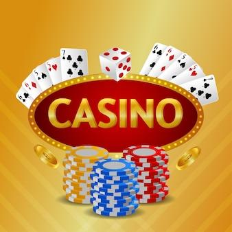 Sfondo di invito vip di lusso casinò con carte da gioco e fiches del casinò