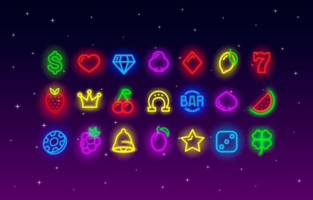Icone della raccolta al neon del casinò, insieme del segno della scanalatura, notte vegas