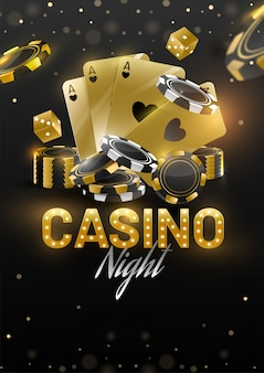 Modello di banner o volantino di casino night design con carte da gioco dorate, dadi e fiches da poker