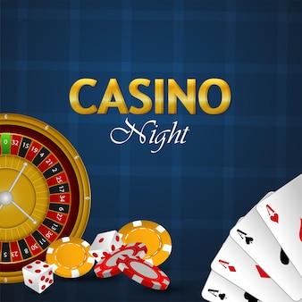 Banner notturno del casinò con carte da gioco di lusso vip, fiches del casinò e dadi