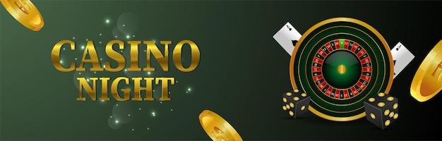 Banner di gioco d'azzardo online del casinò con carta da gioco e ruota della roulette