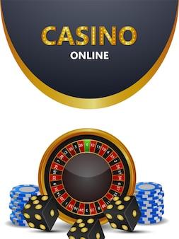 Volantino del gioco d'azzardo online del casinò con ruota della roulette e dadi