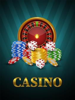 Volantino del gioco d'azzardo online del casinò con la ruota della roulette