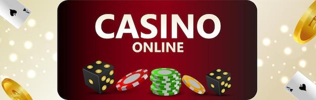 Gioco d'azzardo online del casinò con fiches del casinò e moneta d'oro