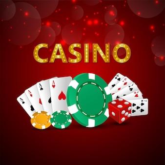 Gioco d'azzardo online del casinò con carte da gioco vettoriali creative e fiches del casinò