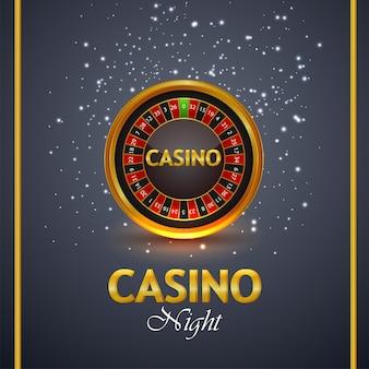 Gioco d'azzardo online del casinò con testo dorato e macchina della roulette Vettore Premium