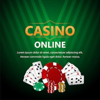 Gioco d'azzardo online del casinò con carte da gioco e fiches del casinò