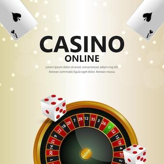 Sfondo del gioco del casinò online con roulette e fiches del casinò