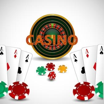 Gioco da casinò online con carte da gioco creative, roulette e dadi