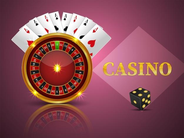 Gioco del casinò online con ruota della roulette e carte da gioco Vettore Premium