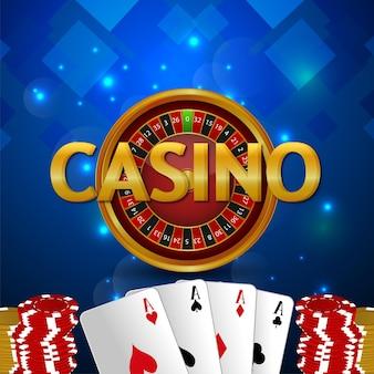 Carte da gioco del casinò con ruota della roulette e sfondo