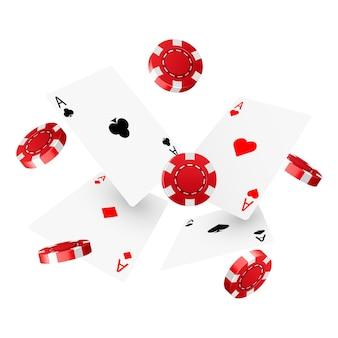 Modello di progettazione di poker da casinò. carte da poker e fiches che cadono.