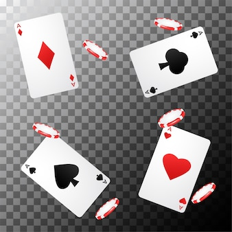 Poker design del casinò con carte da gioco e fiches