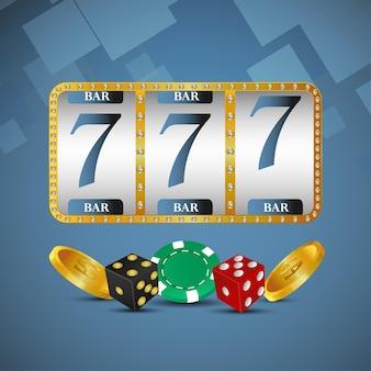 Slot machine realistica del casinò con moneta d'oro e fiches