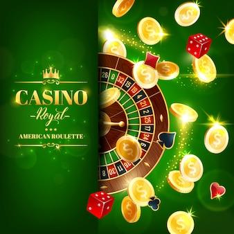 Ruota della roulette del casinò, giochi d'azzardo online a dadi