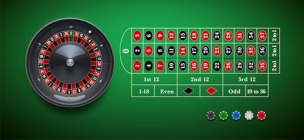 Ruota di roulette del casinò con patatine isolate sulla tavola verde reale