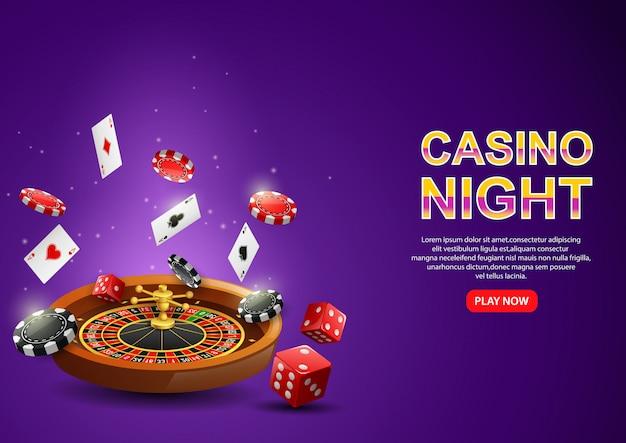 Ruota della roulette del casinò con gettoni da poker, carte da gioco e dadi rossi su viola scintillante.