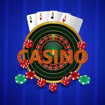 Ruota della roulette del casinò con carte da gioco, fiches e dadi su sfondo creativo