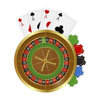 Roulette del casinò con fiches e carte da gioco