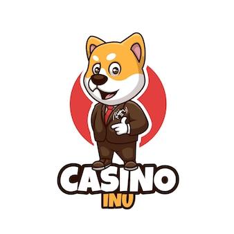Logo della mascotte creativa del fumetto di shiba inu del casinò