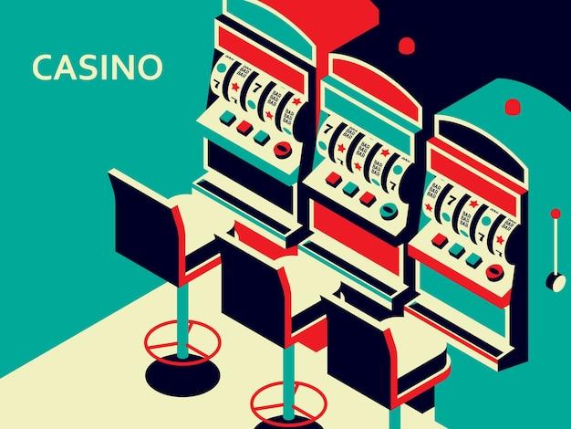 Slot machine del casinò in stile piatto isometrico. un dispositivo di gioco d'azzardo del braccio