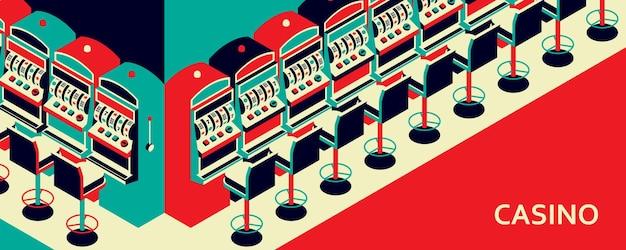 Slot machine del casinò in stile piatto isometrico.