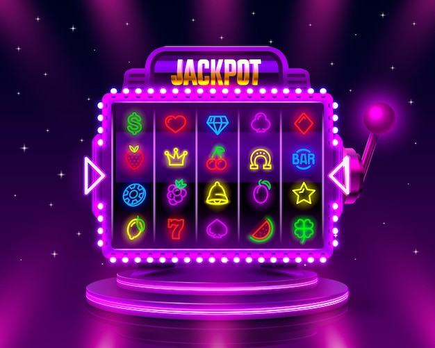 Slot machine del casinò al neon