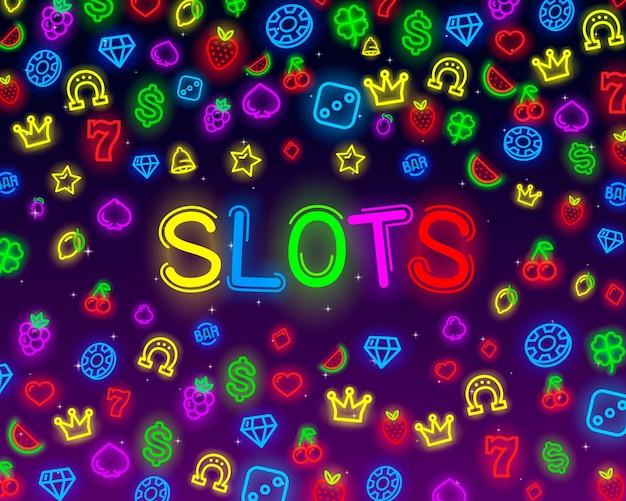 Icone al neon delle slot del casinò, slot machine, notte vegas