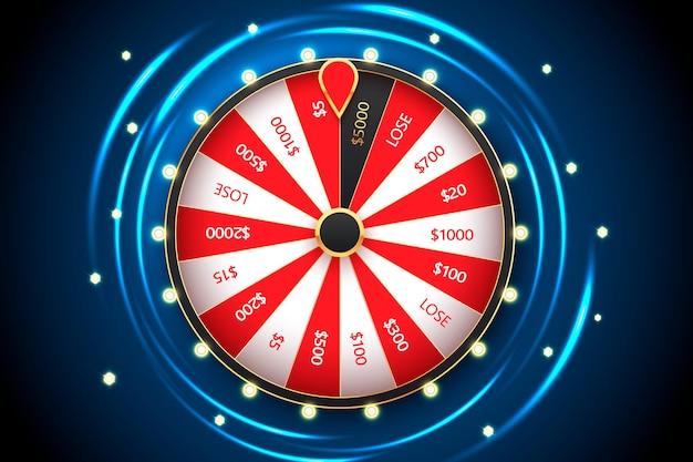 Banner di ruota della fortuna di filatura del casinò. roulette, grande vincita del jackpot.