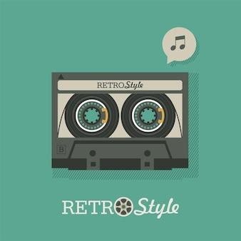 Musicassetta. logo vintage, emblema. illustrazione vettoriale in stile retrò.